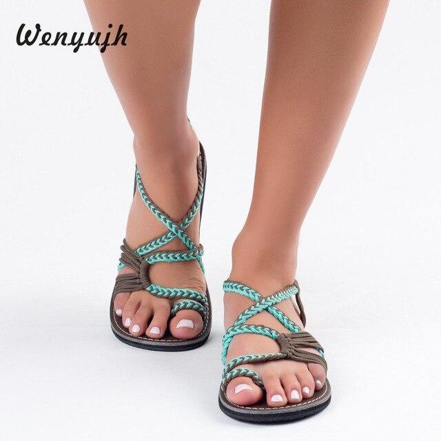 WENYUJH Frauen Sandalen Mode Sandalen Sommer Schuhe Weibliche Flache alias mujer Rom Kreuz Gebunden Sandalen Schuhe 35-43 # ne