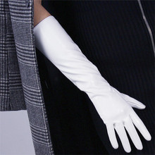 Patent PU Leather Gloves Female Middle And Long Section Synthetic Woman 40cm Cosplay Emulation P34
