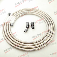 Stainless Steel Braided AN-12 Fuel Gas Line Hose 3M + Swivel Hose End Fitting