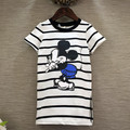 2016 new fashion baby girls summer dress kids and children striped cartoon dress with mickey printed lovely casual dress