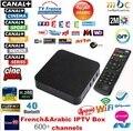 Francês Quad core Android tv box com 1 ano 650 + Árabe Francês código de TV Ao Vivo IPTV caixa smart tv XBMC pré-instalado iptv arábica livre