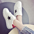 Mujeres pisos de marcas de cuero al aire libre zapatos que caminan ocasionales del bromista de la moda super star base antideslizante grueso zapatos mujer tamaño 35-40