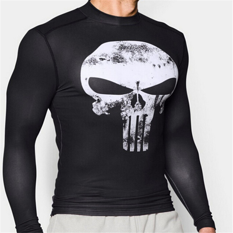 Punisher Cosplay Costumes Men Long Sleeve T-shirts Quick Dry Top 3D Printed Sports Running T-shirts Compression Male Cosplay Tee