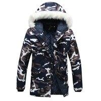 2019 New Men's Parka Camouflage Jacket Winter Hooded Velvet Thick Windproof Coat Men Warm Male's Medium long Military Parkas