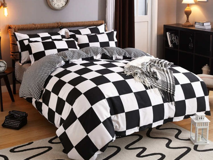Plaid Polyester Duvet Cover sets Black and White Bedding doona qulit covers bedspread Ca ...