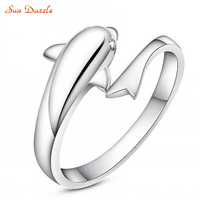100 Genuine Real Pure Solid 925 Sterling Silver Rings For Women Fine Jewelry Dolphin Fashion Female