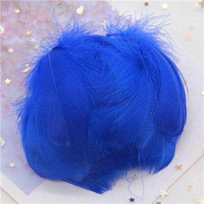 Натуральные гусиные перья 4-8 см, маленькие плавающие цветные перья лебедя, Плюм для рукоделия, свадебные украшения, украшения для дома, 100 шт - Цвет: blue 100pcs