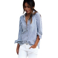 Women Fashion Loose Long Sleeve Blouses Shirts Striped Turn Down Collar Tops Blouses