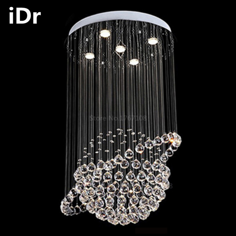 Modern Europe Crystal Chandelier Living Room Bedroom Lamp Creative Restaurant Staircase Hanging Wire 90 260v Dia500xh700mm In Chandeliers From Lights