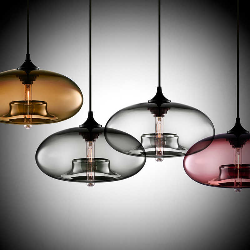 Nordic Modern hanging loft 7 Color Glass lustre Pendant Lamp industrial decor Lights Fixtures E27/E26 for Kitchen Restaurant
