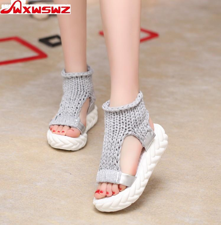 Wxwswz 2018 Новая обувь женские босоножки 2018 летние Обувь Сандалии для девочек на платформе вьетнамки-гладиаторы подошвой женская обувь
