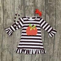 Thanksgiving Baby Girls Kids Fall Striped Brown Outfits Dress Pumpkin Boutique Cotton Sleeve Children Clothes Match