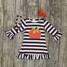 Thanksgiving bébé filles enfants Automne rayé brun tenues robe citrouille boutique coton manches enfants vêtements match accessoire
