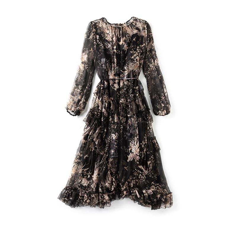 TWOTWINSTYLE Elegant Asymmetrical Midi Print Dress Female Long Sleeve Bandage Ruffle Women's Dresses Vintage Fashion Autumn 2019