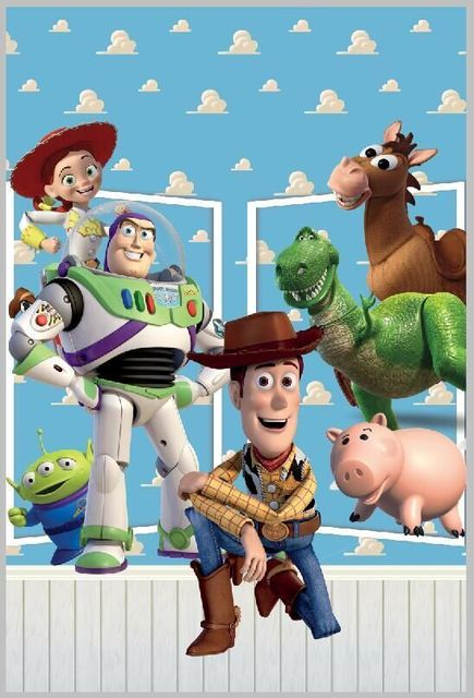 ea87771ebe7b6 happy birthday Toys Story Sheriff Woody Lightyear Buzz Jessie Rex Clouds  Ken children Photo Background Backdrop Quality Vinyl