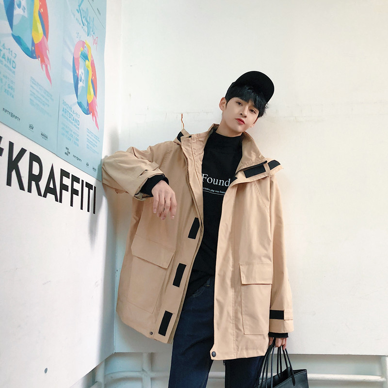 2018 Spring Oversize Removable Even Hat Loose Coat personality city boy trend causal letter Favourite Free shipping hiphop