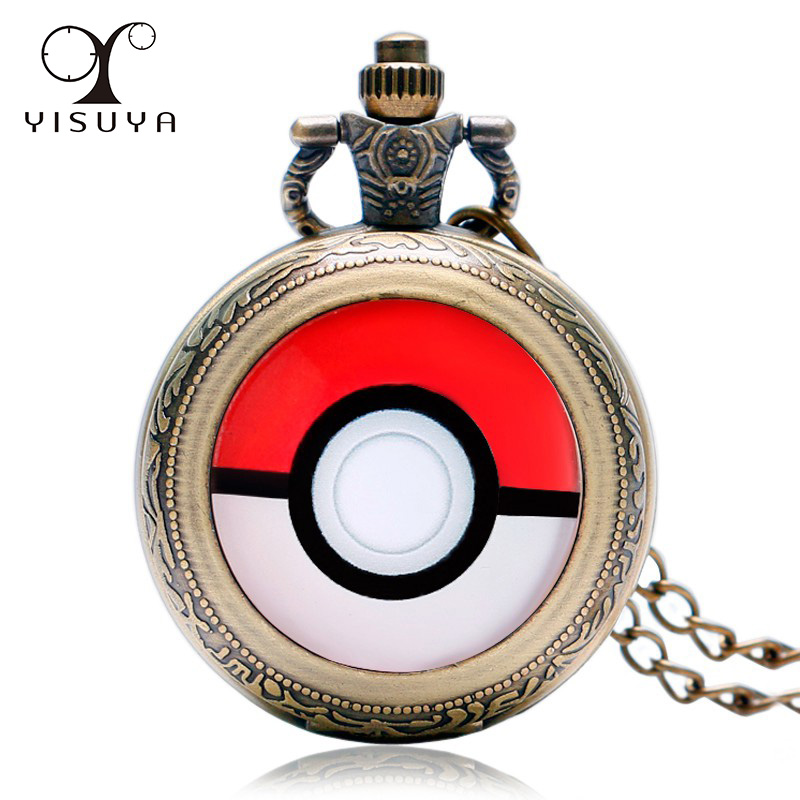 Pokemon Go Hot Game Pocket Watch Vintage Mini Size Watches Necklace Chain with Black Gift Bag Retro Style Gift for Children