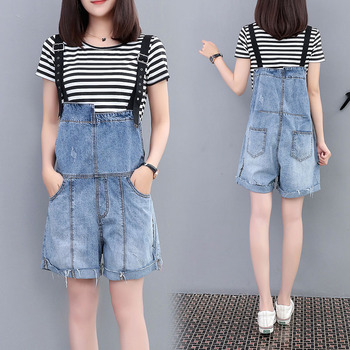 XL- 5XL Women plus size jeans jumpsuit Summer Overalls Casual Loose denim short playsuit Oversized cute students style shorts plus size women in overalls