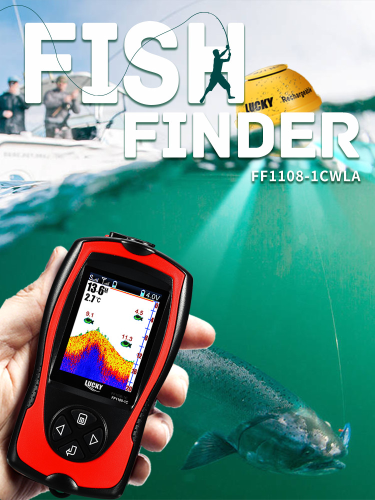 Remote-Sonar Fishing-Finder Echo Sounder Lake Water-Depth Lucky-Ff1108-1cwla Wireless