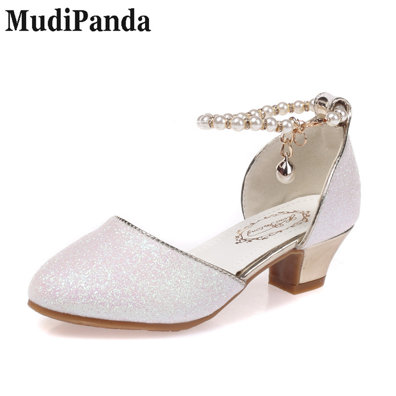 MudiPanda Girls Sandały 2018 nowe perłowe buty dziecięce wysokie - Obuwie dziecięce - Zdjęcie 2