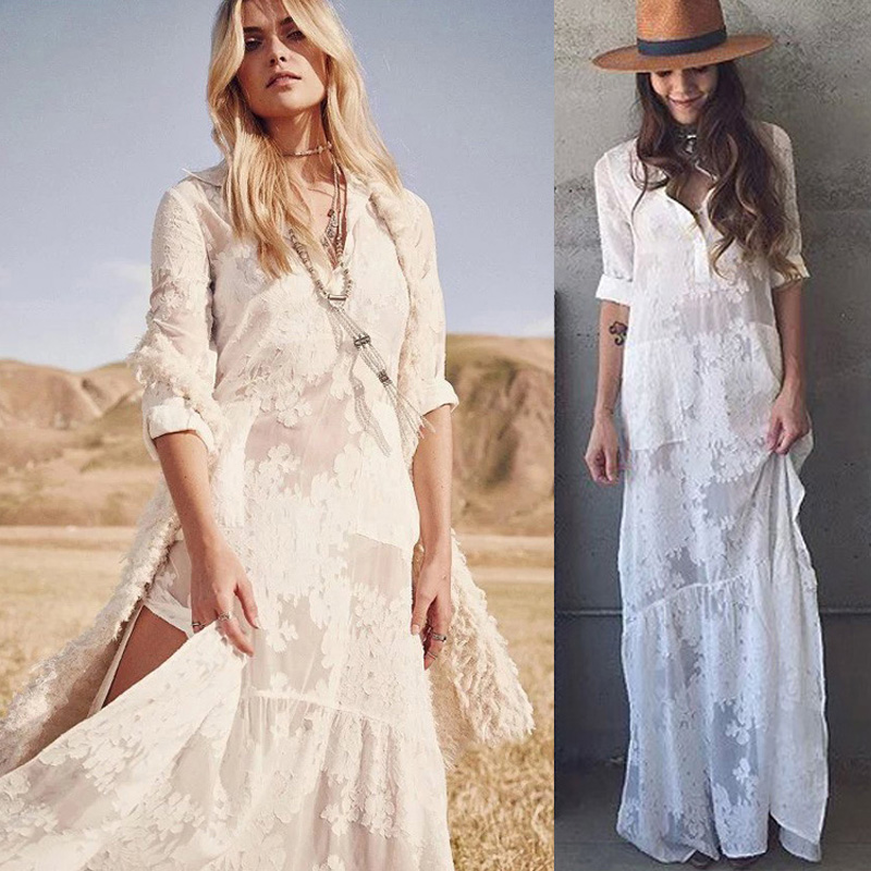 white boho long beach dress 2018 high split vintage maxi