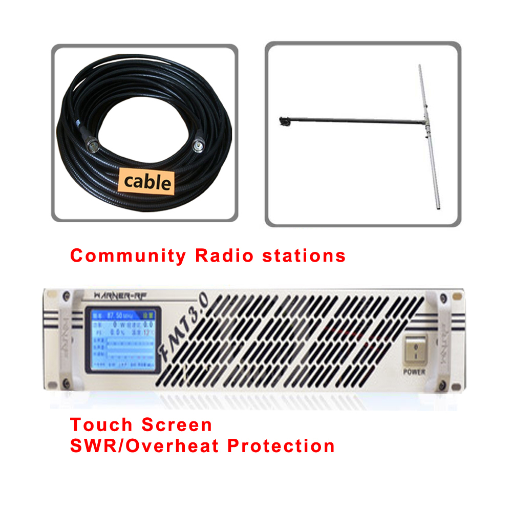100 W 150 watt Bildschirm touch 2U Professionelle FM Broadcast-Radio Transmitter FM fm-transmisor 87-108 mhz dipol antenne