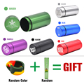 Stash Jar-Airtight Smell Proof Aluminum Herb Container Herb Grinder Smoking Pipe Pill Box,Send Cigar Holder+Glass Tips For Free