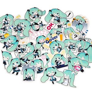 Image 5 - 40 pcs Cartoon mini green girl scrapbooking Stickers Laptop Sticker Decor Fridge Skateboard For Travel Suitcas diy tool