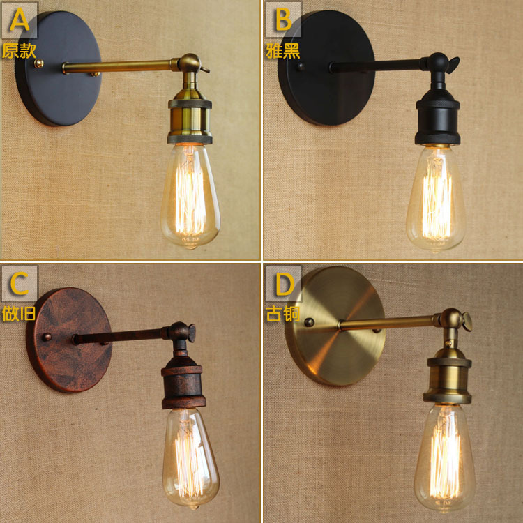 Loft Style American Industrial Retro Iron Wall Lamp Simple Vintage Bar Cafe Shop Wall Light Restaurant Decor Light Free Shipping 1 2 head american countryside retro style wrought iron loft wall lamp bedroom light coffee shop decoration lamp free shipping