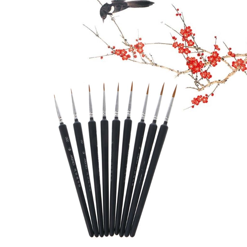 Fine Hand Painted Thin Hook Line Pen Miniature Paint Brush Set Professional  Wolf Hair Brush Painting Pen For Fine Detailing
