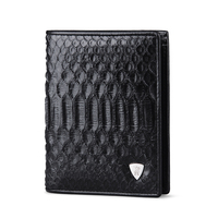 WILLIAMPOLO 2018 Fashion Business Man Luxury Brand Real Natural Python Skin Leather High Quality Zip Wallet Men Black POLO136