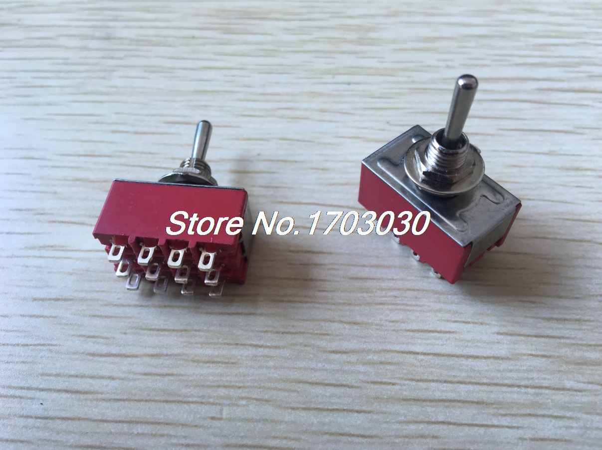 AC 125V 6A 4PDT ON/OFF/ON 3 Positions 12 Pin Electric Toggle Switch Red 2pcs on off on 3 positions 4pdt 12 pin terminal rocker type toggle switch ac 250v 2a mts 403