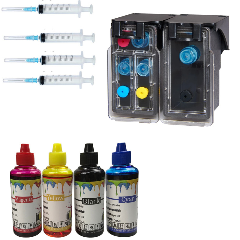 304 refillable cartridge+ 100ml X 4 color printer ink  for HP Deskjet 3720 3721 3723 3724 3730 3732 3752 3755 3758 printer304 refillable cartridge+ 100ml X 4 color printer ink  for HP Deskjet 3720 3721 3723 3724 3730 3732 3752 3755 3758 printer