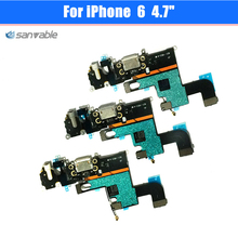 For iPhone 6 4.7″ High Quality Headphone Audio Jack Connector MIC Charge Charging Dock Port Flex Cable Repair Parts
