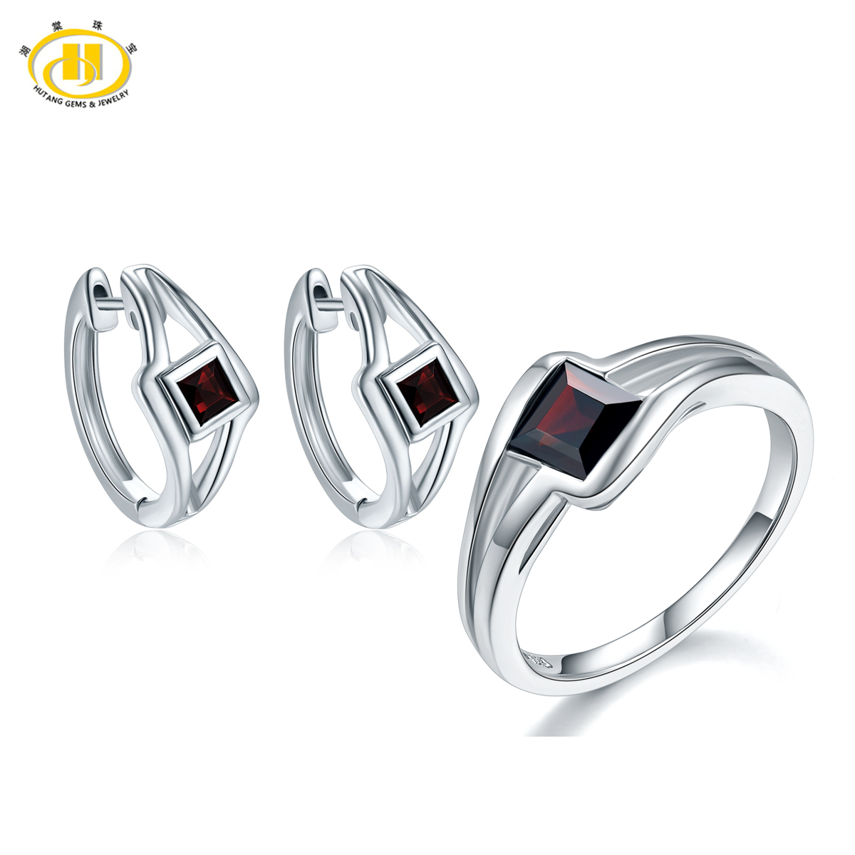 Hutang Classic Natural Garnet Jewelry Sets Solid 925 Sterling Silver Ring Earrings Gemstone Jewelry For Women Party Best Gift