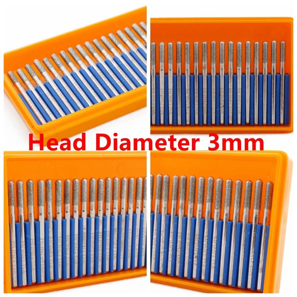 30Pcs Diamond Grinding Head Cylindrical Ball Nose 2.5 mm Needle Rotary Burrs