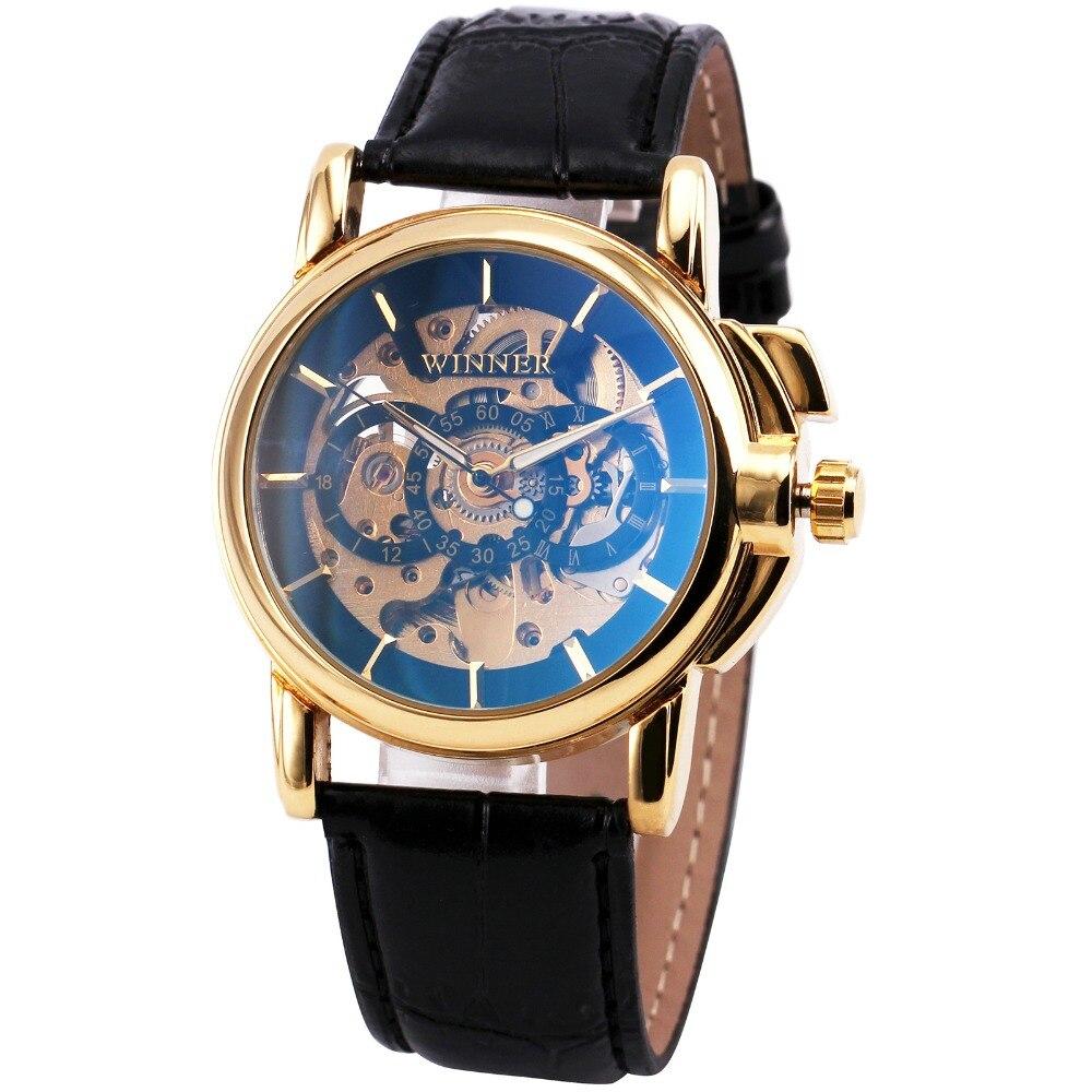 T-WINNER Men Fashion Mechanical Wristwatch Black Leather Strap Round Skeleton Dial Blue-ray Design Auto-self-wind watch + BOX