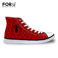 New 2015 Fashion Men Shoes Flats High Top Canvas Shoes Red Spiderman Printed Cartoon Hero Shoes
