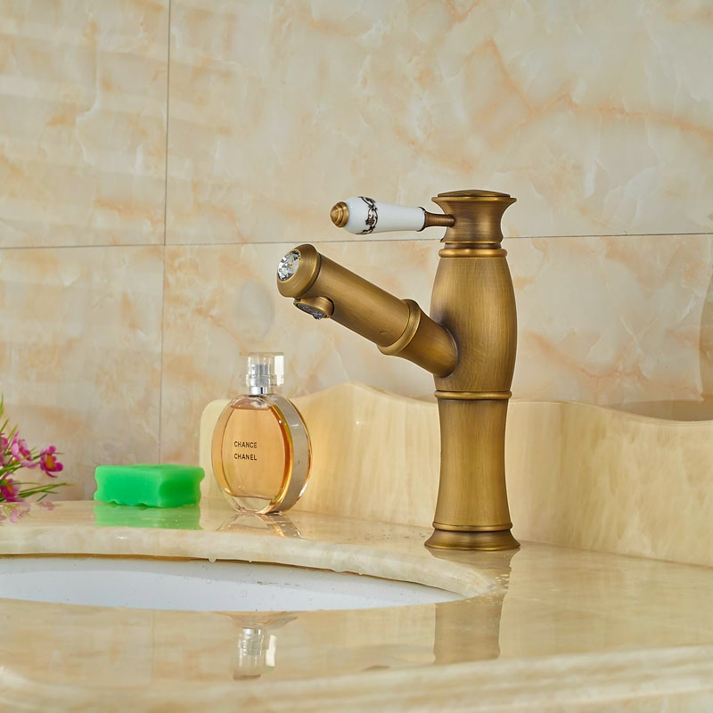 Newly Contemporary Antique Brass Basin Faucet Single Handle Swivel Spout Tap Mixer Faucet One Hole bamboo new brand contemporary bathroom single handle one hole brass heighten basin faucet tree277