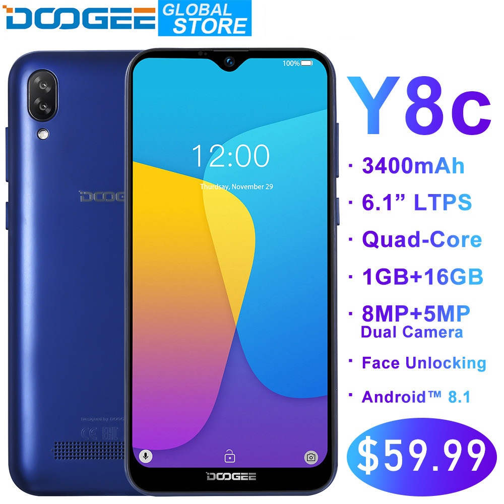 Original DOOGEE Y8c Android 8.1 6.1 pouces Waterdrop LTPS écran Smartphone MTK6580 1 GB RAM 16 GB ROM 3400 mAh double SIM 8MP + 5MP WCDMA
