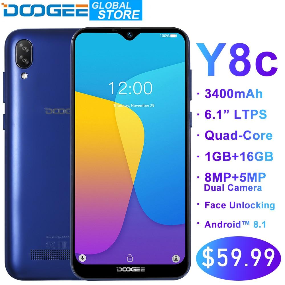 Original DOOGEE Y8c Android 8.1 6.1inch Waterdrop LTPS Screen Smartphone MTK6580 1GB RAM 16GB ROM 3400mAh Dual SIM 8MP+5MP WCDMA