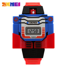 SKMEI Fashion Digital Children Watch Date Cartoon  Kids Sports Watches Relogio Robot Transformation Boys Wristwatches 1095 цена 2017