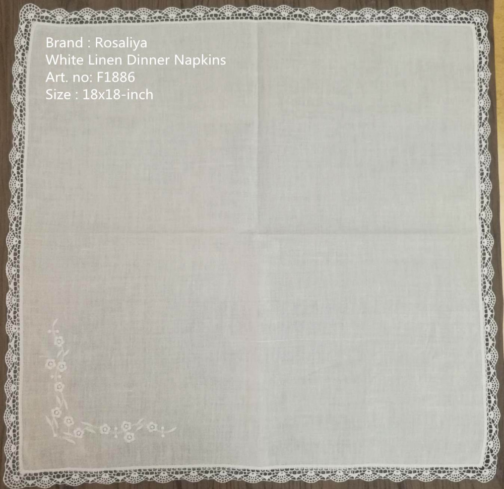 Set Of 50 Handkerchiefs Hankies Table Napkin Dinner Napkins Wedding Hanky Lace Embroidered Floral Luch & Tea Napkins 18x18