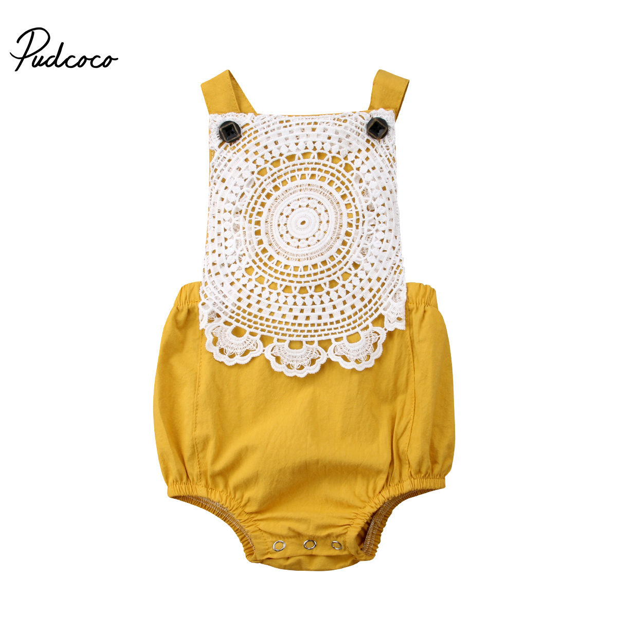 Pudcoco Lovely Newborn Baby Girl Clothes Lace Backless Romper Jumpsuit Cotton One-Piece Summer Girls Clothing adorable newborn baby girls infant lace sleeveless romper v neck backless jumpsuit clothes outfit sunsuit set