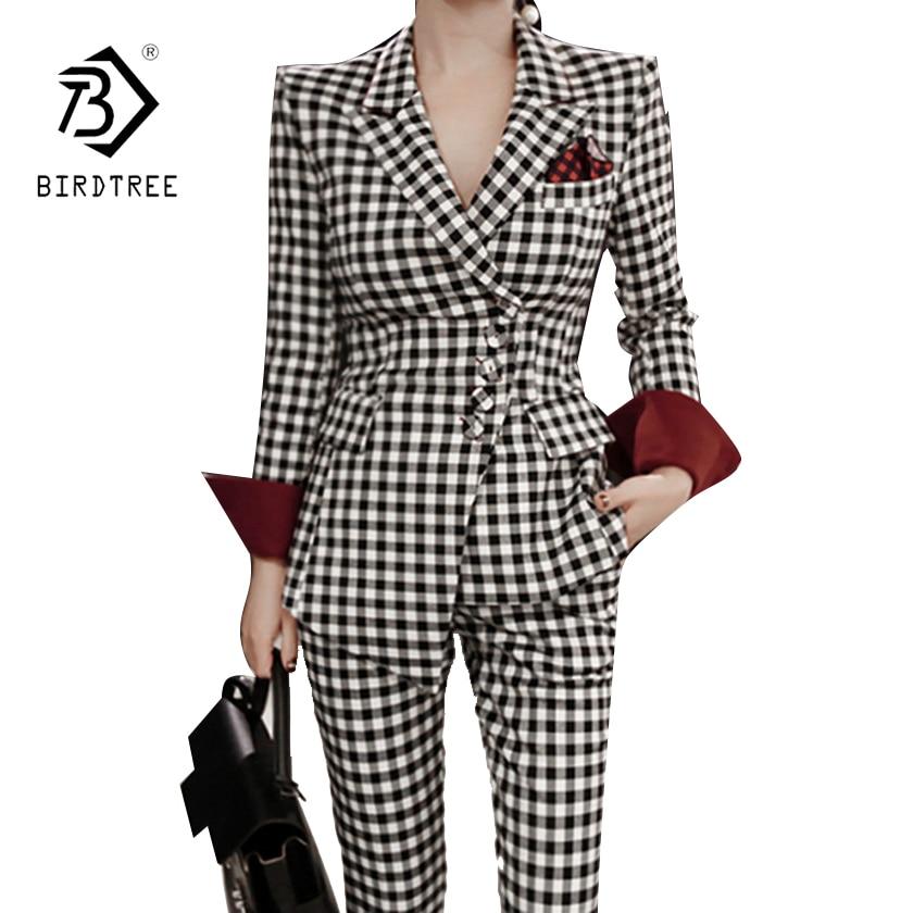 Women Office Lady 2 Piece Sets 2018  Korean Spring Autumn Plaid Irregular Blazers Coat + Business Pencil Long Pants Sets S81310A