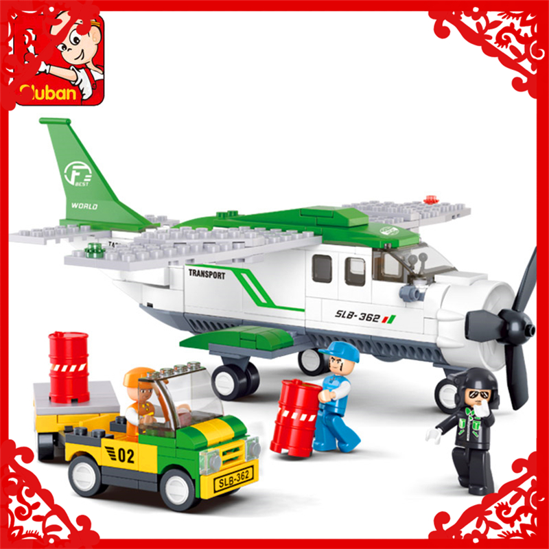 Sluban 0371 City Airport Airplane Aircraft Building Block 383Pcs Educational  Toys For Children Compatible Legoe decool 3114 city creator 3in1 vehicle transporter building block 264pcs diy educational toys for children compatible legoe