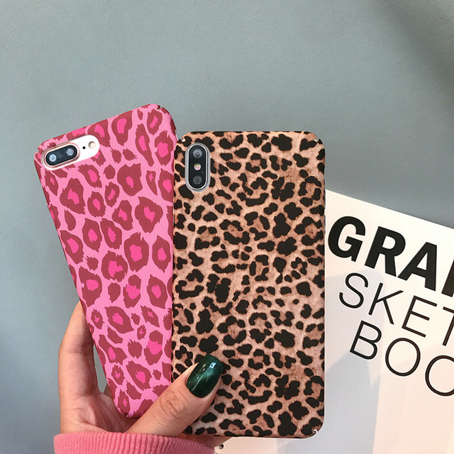 sale retailer 702f2 92497 US $2.26 24% OFF|Retro Leopard print Hard PC Case For iPhone X XS Max XR  Vintage victoria secret pink Cover For iphone 7 7Plus Woman Phone Cases-in  ...