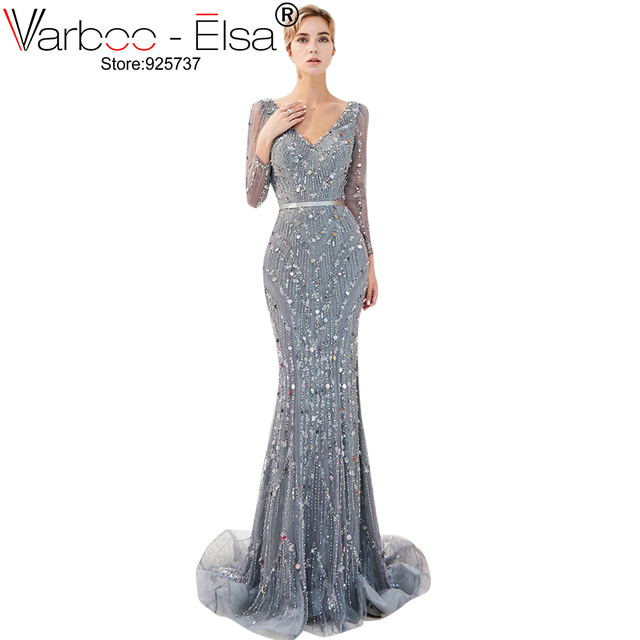 a36859181 VARBOO ELSA v-cuello lentejuelas vestido Formal del partido mujeres cuentas  de manga larga Sexy vestido de noche largo de lujo de plata sirena vestido  de ...
