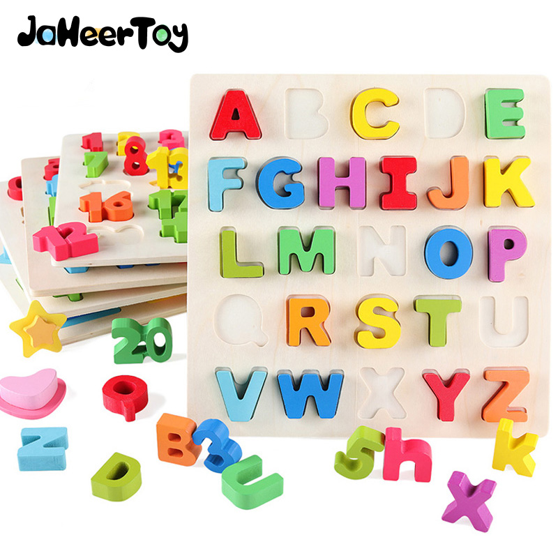 JaheerToy arithmétique Puzzle bébé jouets pour enfants éducatifs en bois jouets Alphabet enfants Montessori apprentissage de la petite enfance
