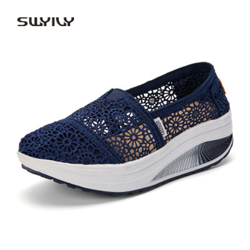 SWYIVY Women Swing Toning Shoes Lace Breathable Solid Color 2018 Summer Comfortable Canvas Shoes Female Soft Slimming Sneakers